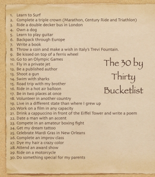 The 30 by Thirty Bucketlist